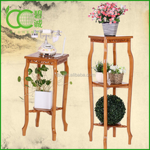 2-Tier standing bamboo drawing flower pot rack storage rack Corner Rack Display Shelf