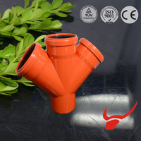 EN1401/EN1329 UPVC fitting with rubber joint for sanitary SN8/SDR34 pvc y type tee