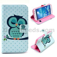 Sleeping Green Owl Wallet Flip Leather Cover for Galaxy S4 i9500