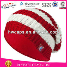 Custom handcrafted crocheted good looks red and white striped beanie hat