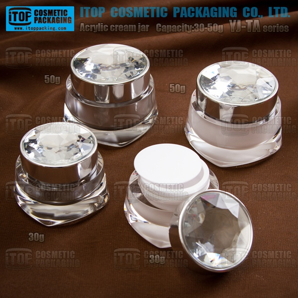 YJ-TA 30ml 50ml crystal diamond cap beauty face cream facial mask container quality guaranteed high end cosmetic cream jar