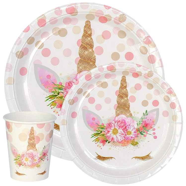 Premium Unicorn Birthday Party Supplies Set, Paper Plates And Cups for 12 by Party Crush, Great for Kids Birthdays and Baby <strong>Show</strong>