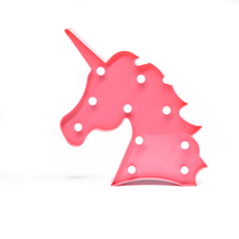 Cute Unicorn Head Led Night Light Animal Gift Children kids baby Bedroom 10 Led Night Lamp marquee Light For Kids