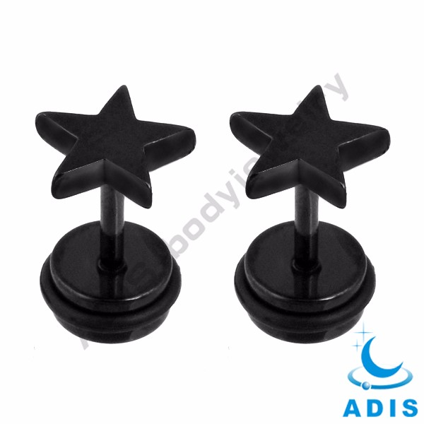Titanium Black Plated Stainless Steel Star Fake Plugs Ear Tunnel