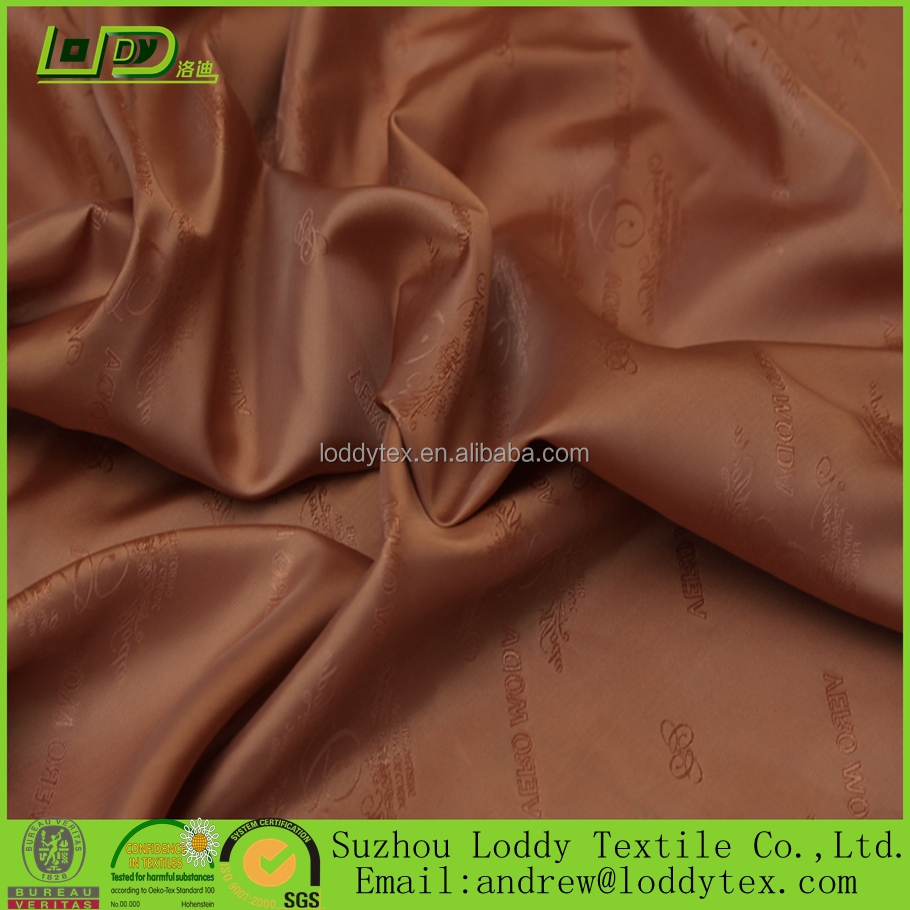 Poly/viscose suit lining with logo/Viscose Lining Jacquard With Logo