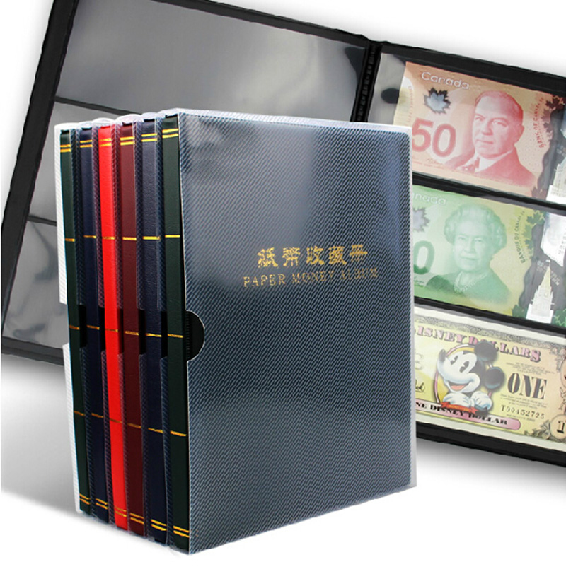 Top Quality paper Money coin Album for Paper Money Bank note Black Back Sheet Leather Cover