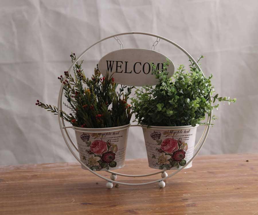 rgano floral de hierro cesta de flores muebles para el hogar adornos decorativos