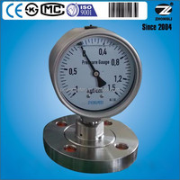 100mm vacuum flange threaded diaphragm pressure gauge DN 25 glycerine/silicone oil filled