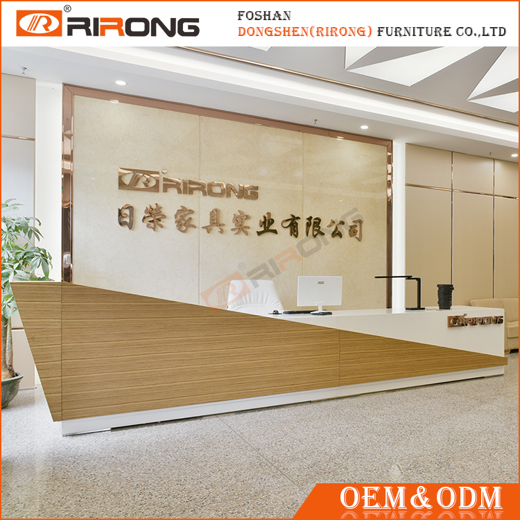 Modern luxury solid wooden reception counter , customized size salon reception desk