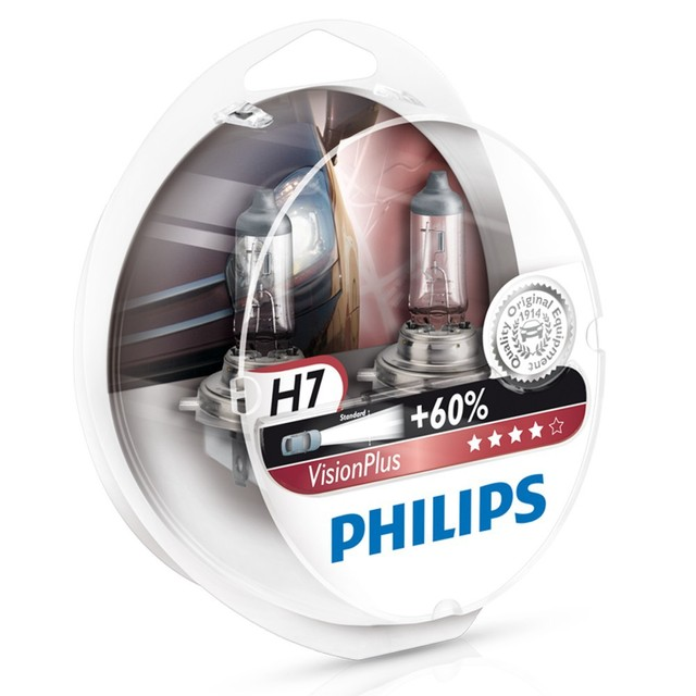 Genuine Philips Vision Plus H7 Halogen Bulbs (Twin) 12972VPS2 - Also available in H1 & H4