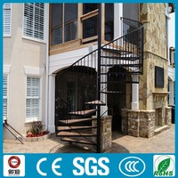 black color outdoor wrought iron portable spiral stairs