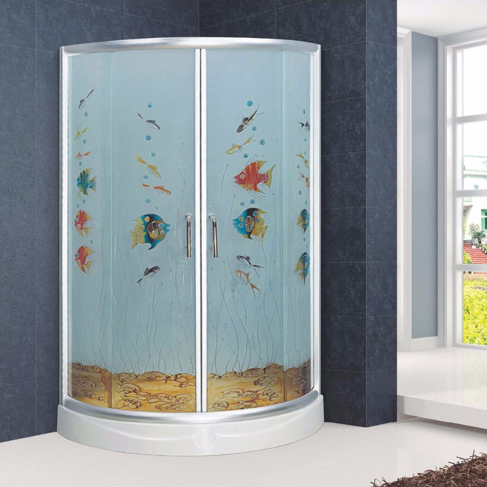 Arc-shape Curved Tempered Glass Sliding Shower Enclosures(KC6006B)