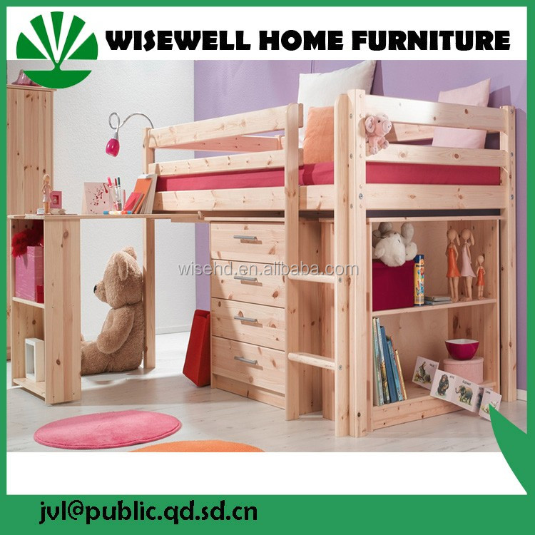 pine wood study loft bed for children ( WJZ-B28 )