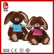 2014 easter bunny custom animal toy promotion gift stuffed animal toys plush brown rabbit dressed T-shirt soft toy brown bunny
