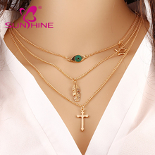Sunshine Fashion Chain Geometric Cross <strong>Necklace</strong> Leaf Eye Simple Multilayer Chain <strong>Necklaces</strong> For Women