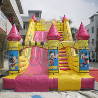 Giant Commercial Mickey Mouse Inflatable Slide With Climbing Wall
