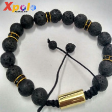 Fashion Wholesales Adjusted Weave Cord Rope Lava Stone Pendant Bracelet Jewelry From China Yiwu