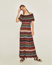 OEM women clothing Colorful striped dress long flair dress
