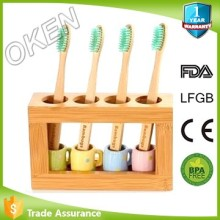 Oken silk printing logo teeth whitening Custom Satisfied OK-T8578 bamboo toothbrush WITH STAND