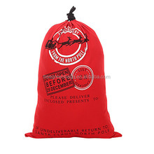 Customized 210D polyester santa sack bag with drawstring