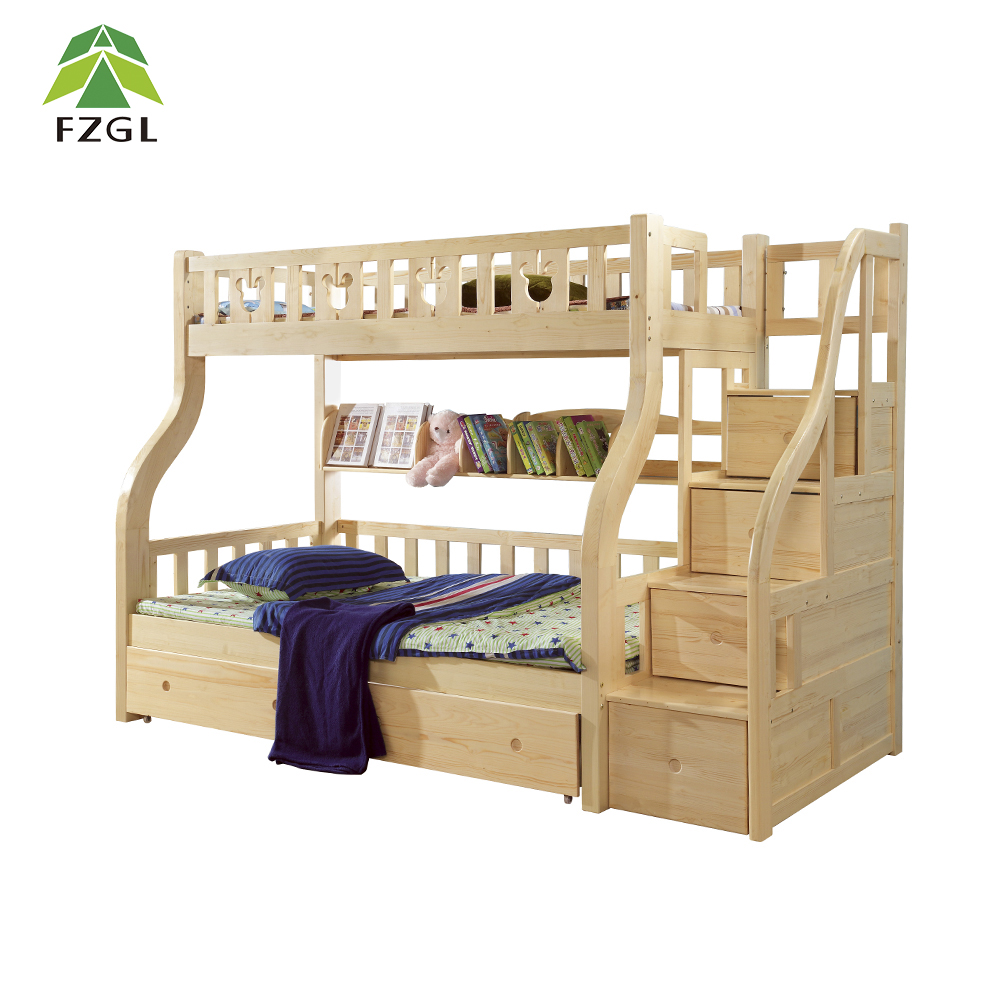 Home bedroom furniture for kids wood children bunk bed with built in drawer steps