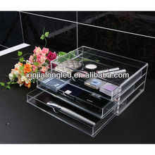 Acrylic Jewelry Box with 3 Drawer Clear Acrylic Cosmetics Chest with Lid and Drawer