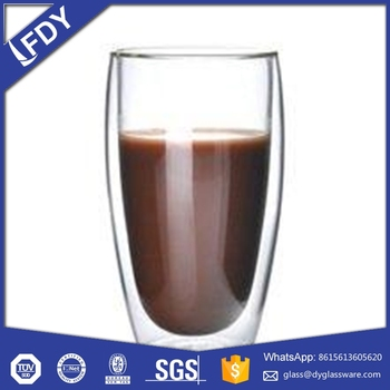 Custom Glassware Manufacturer heat resistant mouth blown double wall glass cup with silicon lid