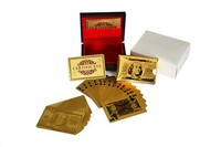 USD100 Dollar Design 24k gold playing card with wooden box