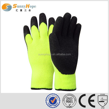 sunny hope 13g nylon nappy double liner 3/4 coated foam nitrile winter glove