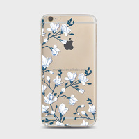TPU case cover white flowers Soft customize Phone Case For iPhone 6 6S material TPU