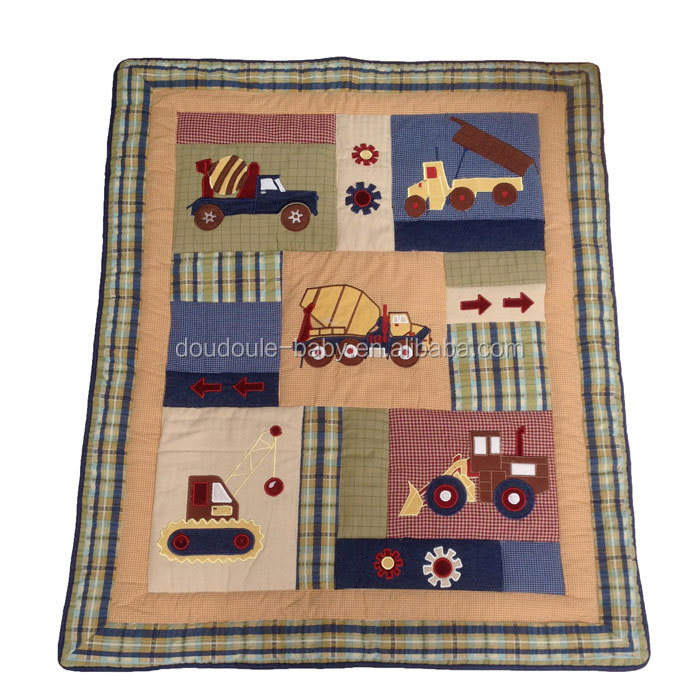 traffic design crib quilt reversiable check pattern