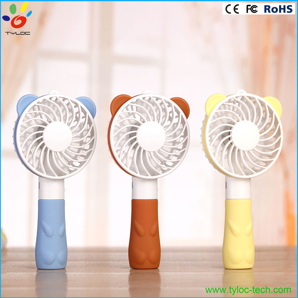 Cartoon bear portable usb fan mini hand fan electric fan with li-ion battery