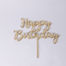 acrylic plastic Gold Letter birthday Cake Toppers for party plexiglass cake topper crafts