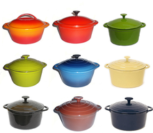 Enamel cast Iron casseroles similar as creuset cookware