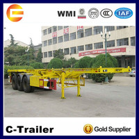 small skeleton container chassis trailer with landing gear 28ton
