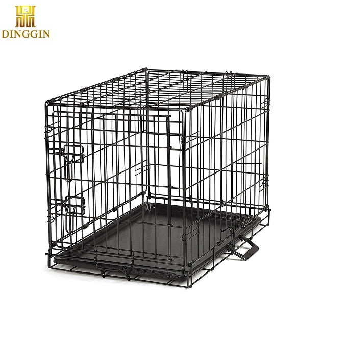 Folding steel dog cage,dog crate,dog kennel with plastic tray