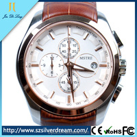 2016 hot selling fashion luxury watch genuine leather 316L stainless steel case watch for men