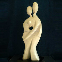 Modern design stone abstract figures love couple statue for outside marble in love boy and girl sculpture