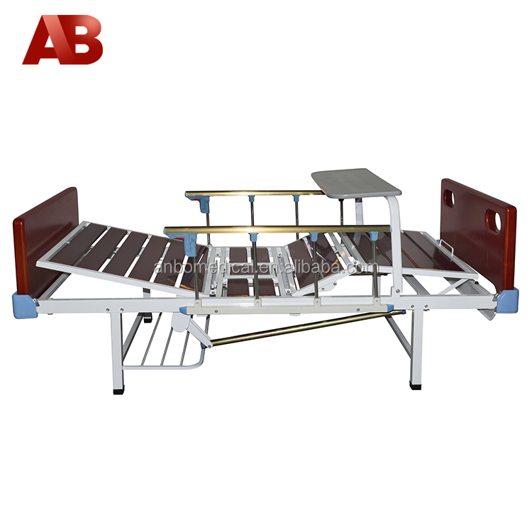 two functions wooden nursing care bed with siderails and over bed table