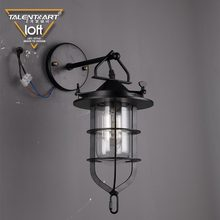 Hot selling wall mounted decorative lighting black iron + glass bedroom wall light for home decor