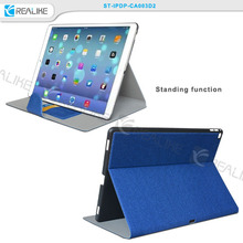 pu leather for ipad pro case with stand, for ipad pro 12.9 card holder felt