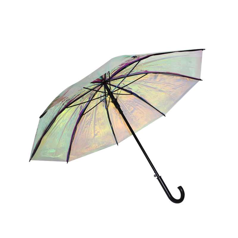 Latest design wholesale colorful laser pattern straight auto open umbrella with J handle