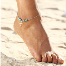Silver Feet Jewelry Anchor Elephant Turquoise Ankle Bracelet Beach Anklet For Women