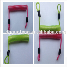 China Wholesale Retractable Stainless Steel Small Coil Spring Lanyard With Loops