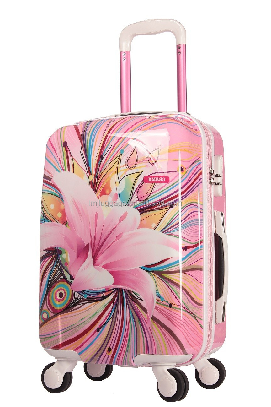 colorful printing cabin travel suitcase lightweight abs trolley luggage with new design