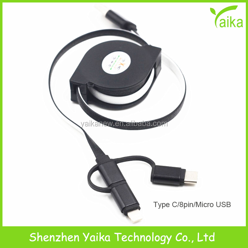 Yaika Promotion Gift V8+8Pin+Type <strong>C</strong> 3 in <strong>1</strong> Retractable Charging Cable Reel Customized Logo