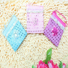 Sequin flower shaped style silk coin purse for kids