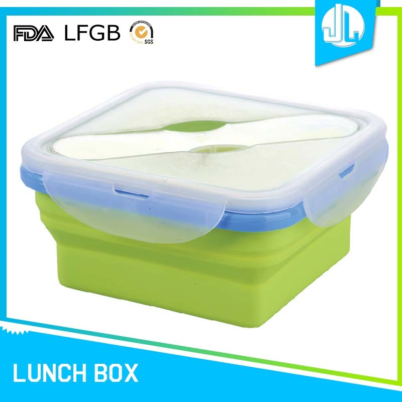 1000ML square collapsible silicone folding kids lunchbox