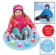 Costom durable pvc inflatable snow tube heavy duty air pulling snow towable sled with led light