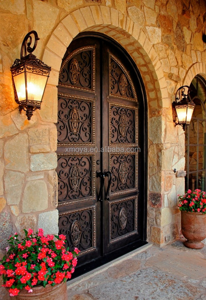 High-grade Atmosphere Luxury Exterior Main Entry Wrought Iron <strong>Door</strong> For Home